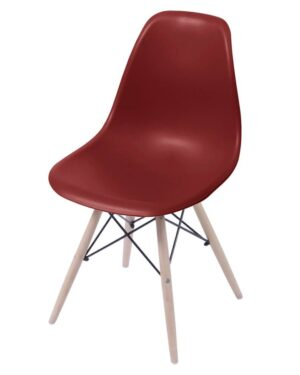 Cadeira Eames Dkr Wood Bordô