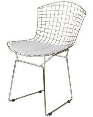Cadeira Bertoia Cromada Assento Branco