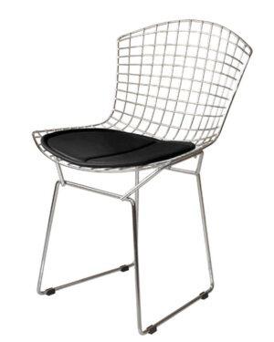 Cadeira Bertoia Cromada Assento Preto