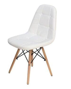 Cadeira Eames Dkr Botonê Wood Branco