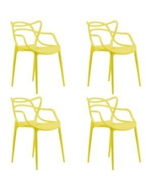 Jogo 4 Cadeiras Mix Amarela