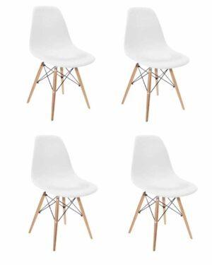 Conjunto 4 Cadeiras Eames Dkr Wood Branco
