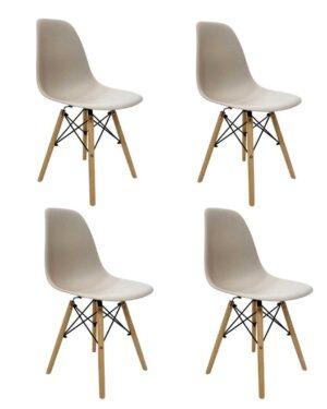 Conjunto 4 Cadeiras Eames Dkr Wood Nude