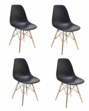 Conjunto 4 Cadeiras Eames Dkr Wood Preto